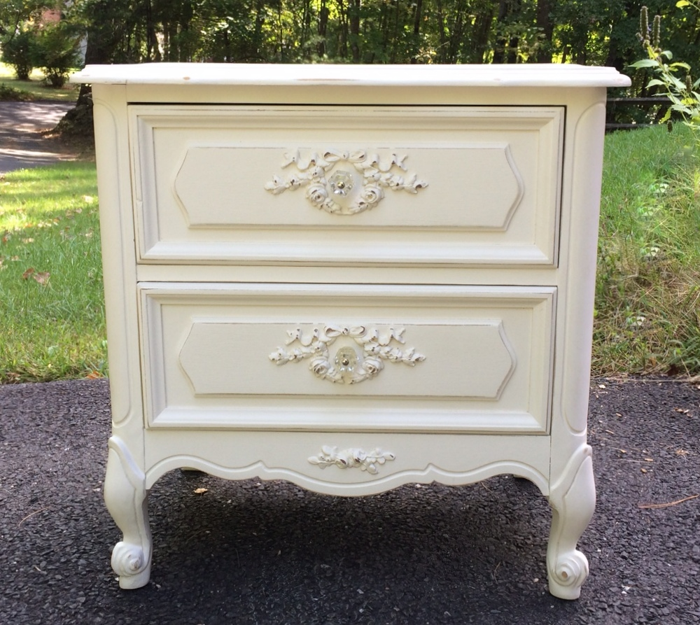 Painted French Provincial nightstand in white