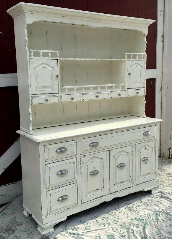 Farmhouse hutch painted and distressed