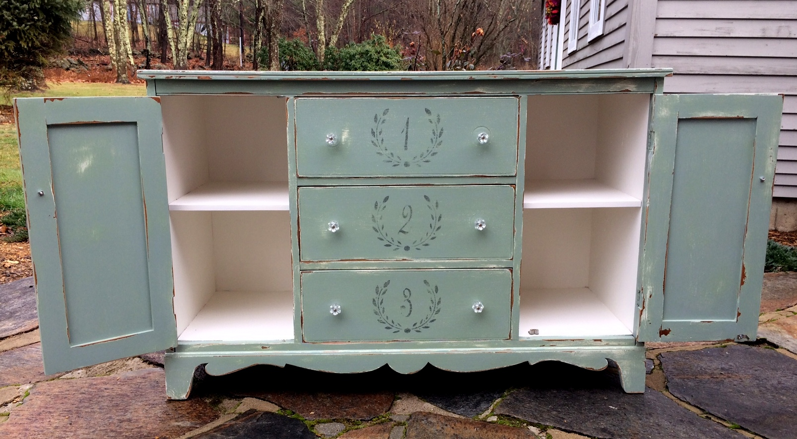 Farmhouse painted sideboard interior
