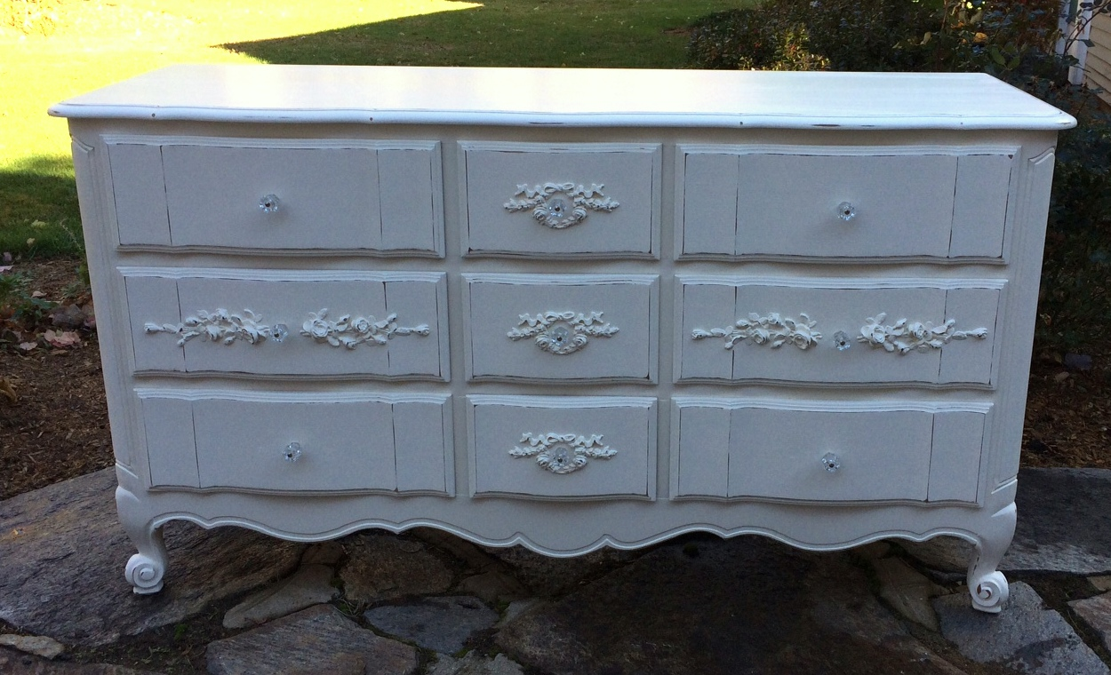 Cottage chic French provincial dresser