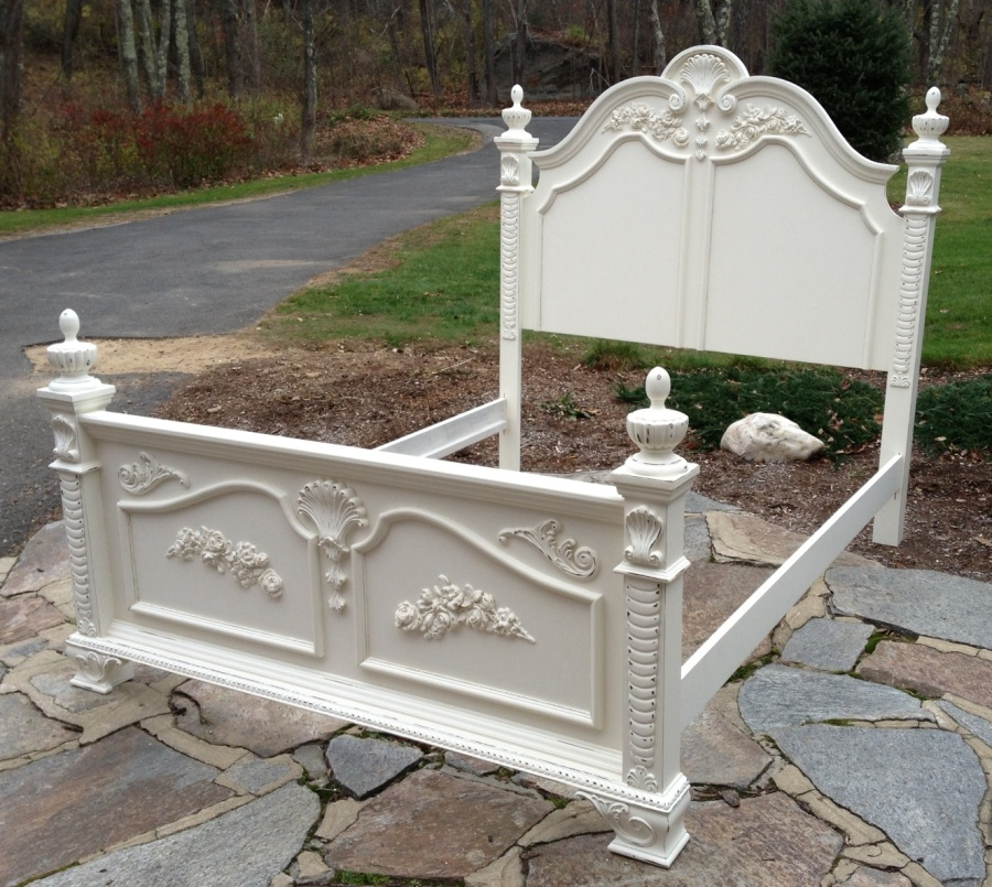 French Cottage Shabby Chic White Twin Size Bed