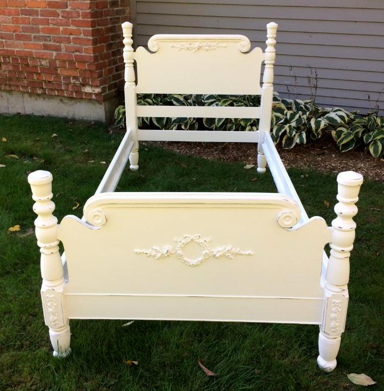 Shabby Chic painted twin bed with roses