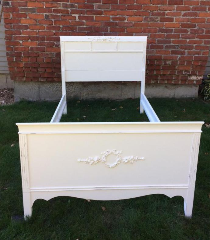 Painted shabby chic white twin bed