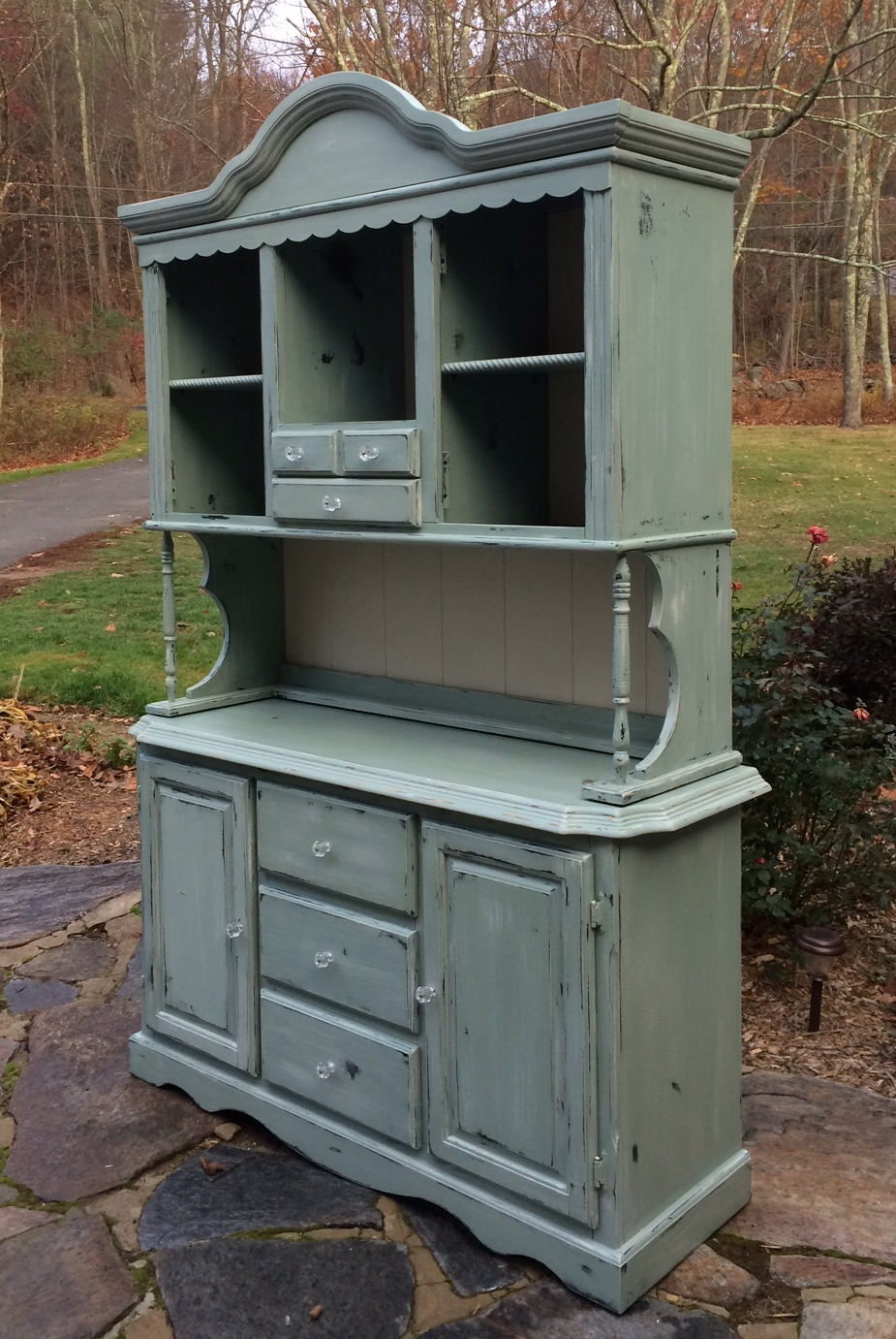 beach cottage painted hutch