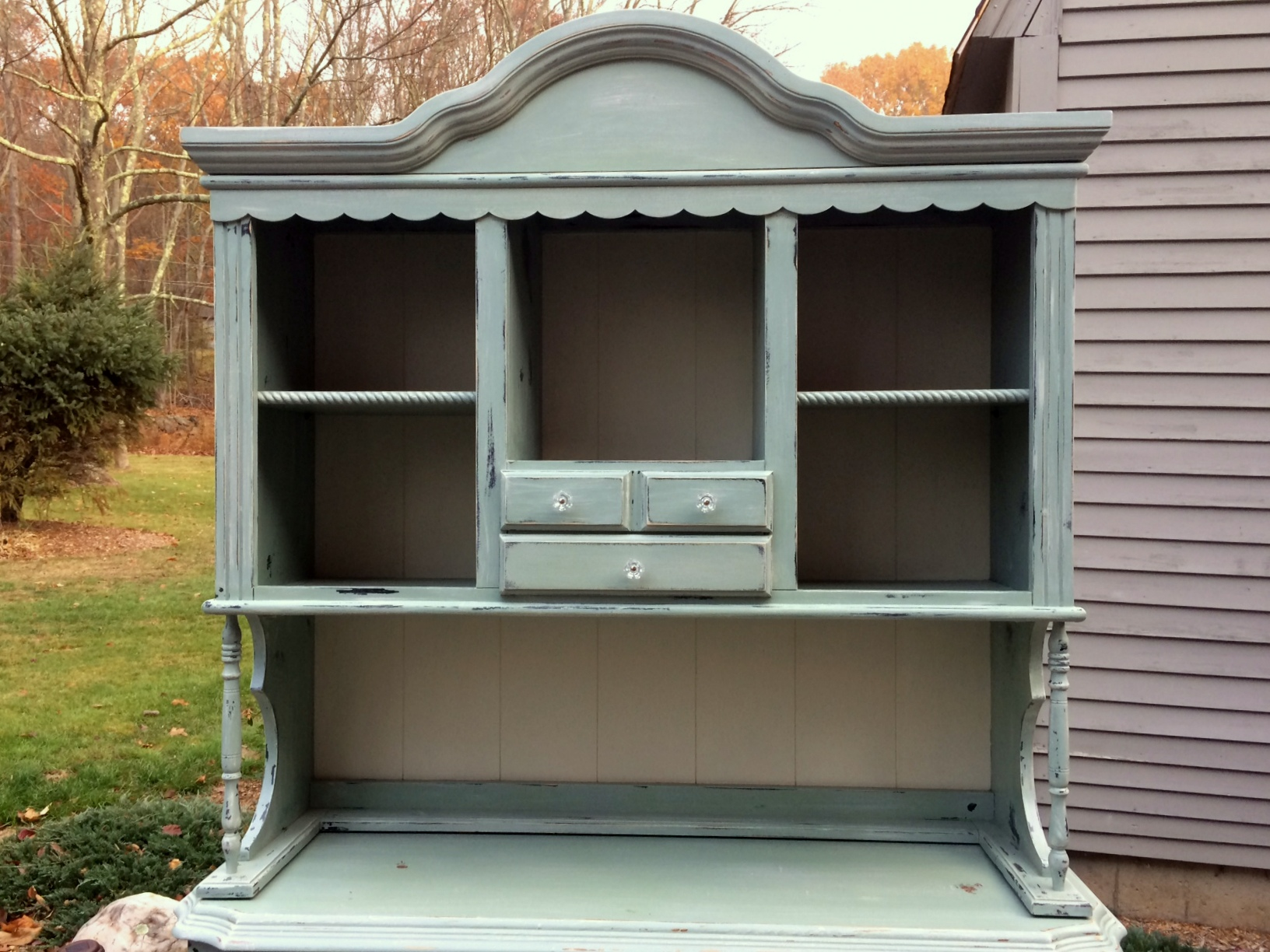 painted hutch in duck egg blue