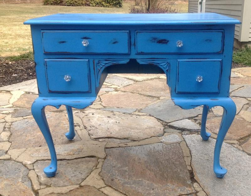 Chalk painted blue desk