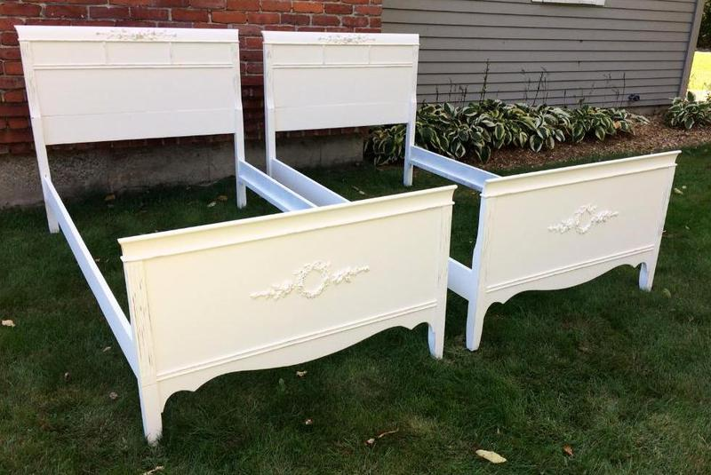 shabby chic vintage twin beds